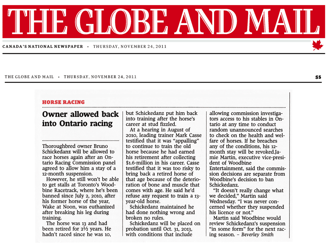 Globe & Mail 2011-11-24 - Schickedanz can race again